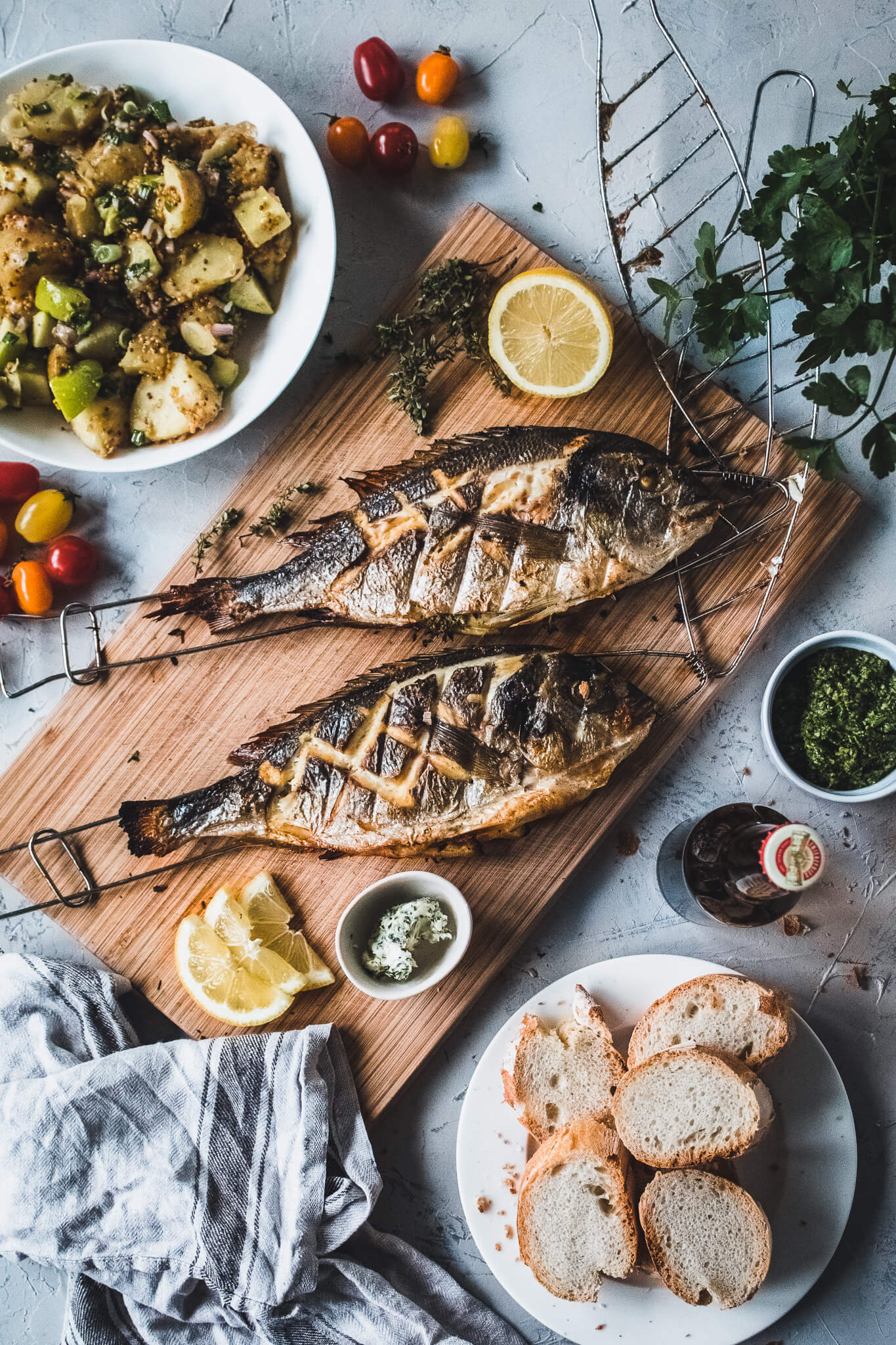 Grilled gilt-head bream with potato salad.
